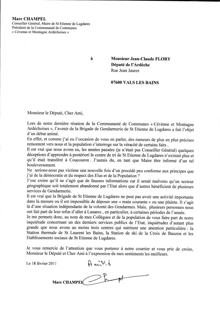 lettre de presentation gendarmerie
